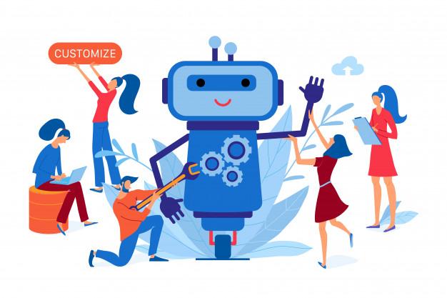 helpdesk automation bot vector